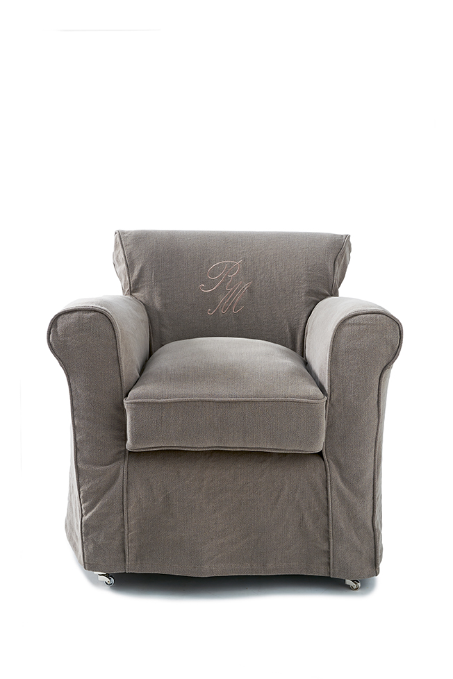 paramount armchair with loose cover washed linen grey rivi ra maison. Black Bedroom Furniture Sets. Home Design Ideas