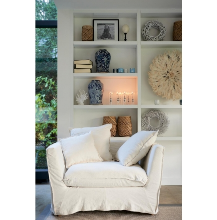 Oyster Pond Love Seat washed linen white / Rivièra Maison