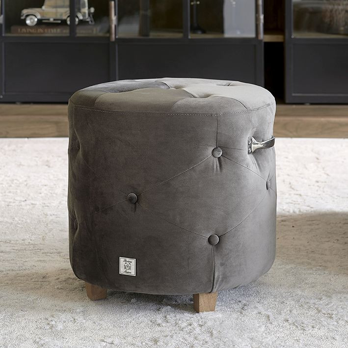 Bowery Footstool velvet III anthracite / Rivièra Maison