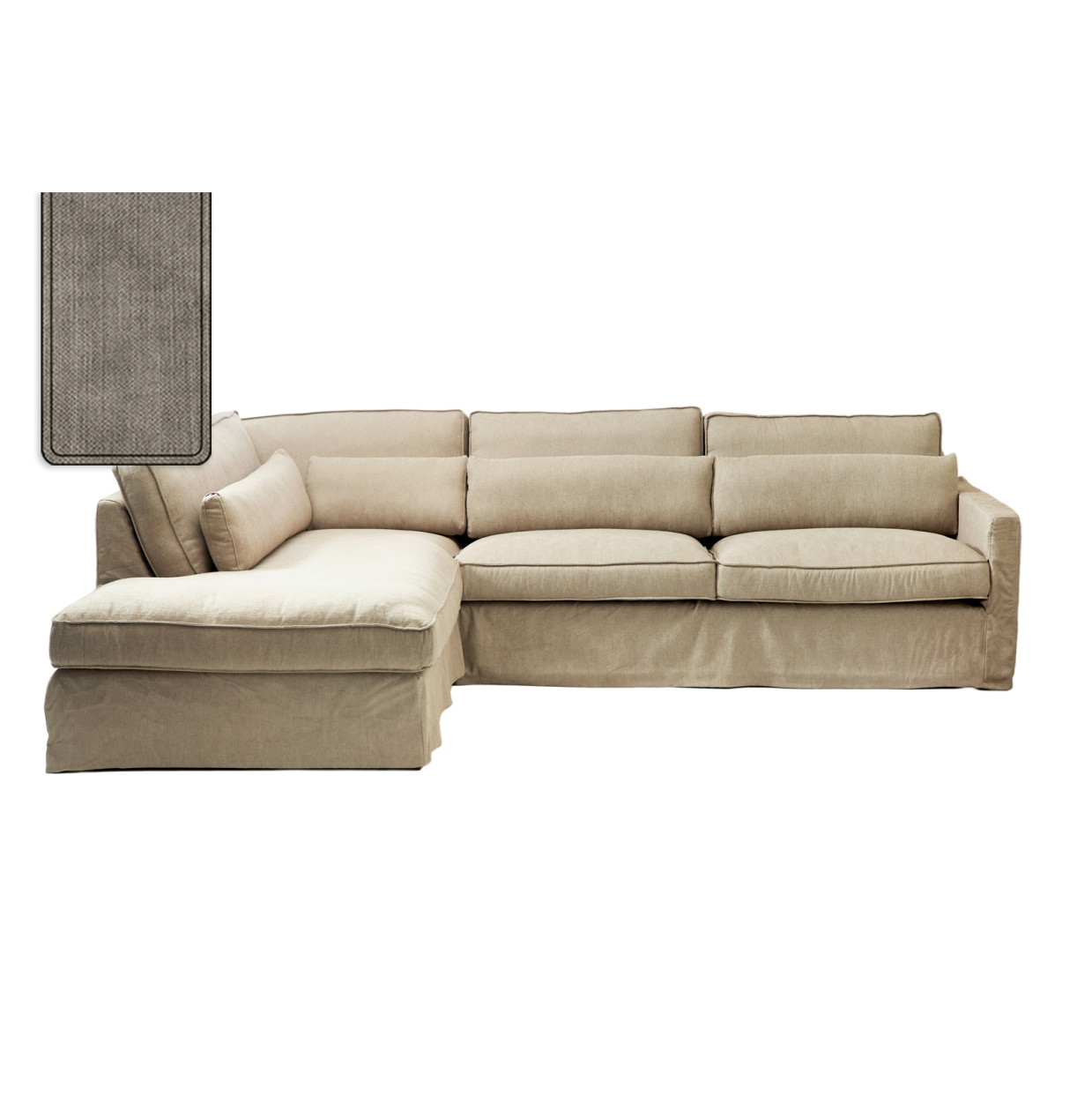 Brompton Cross Corner Sofa Chaise Longue Left Washed Cotton Stone / Rivièra Maison