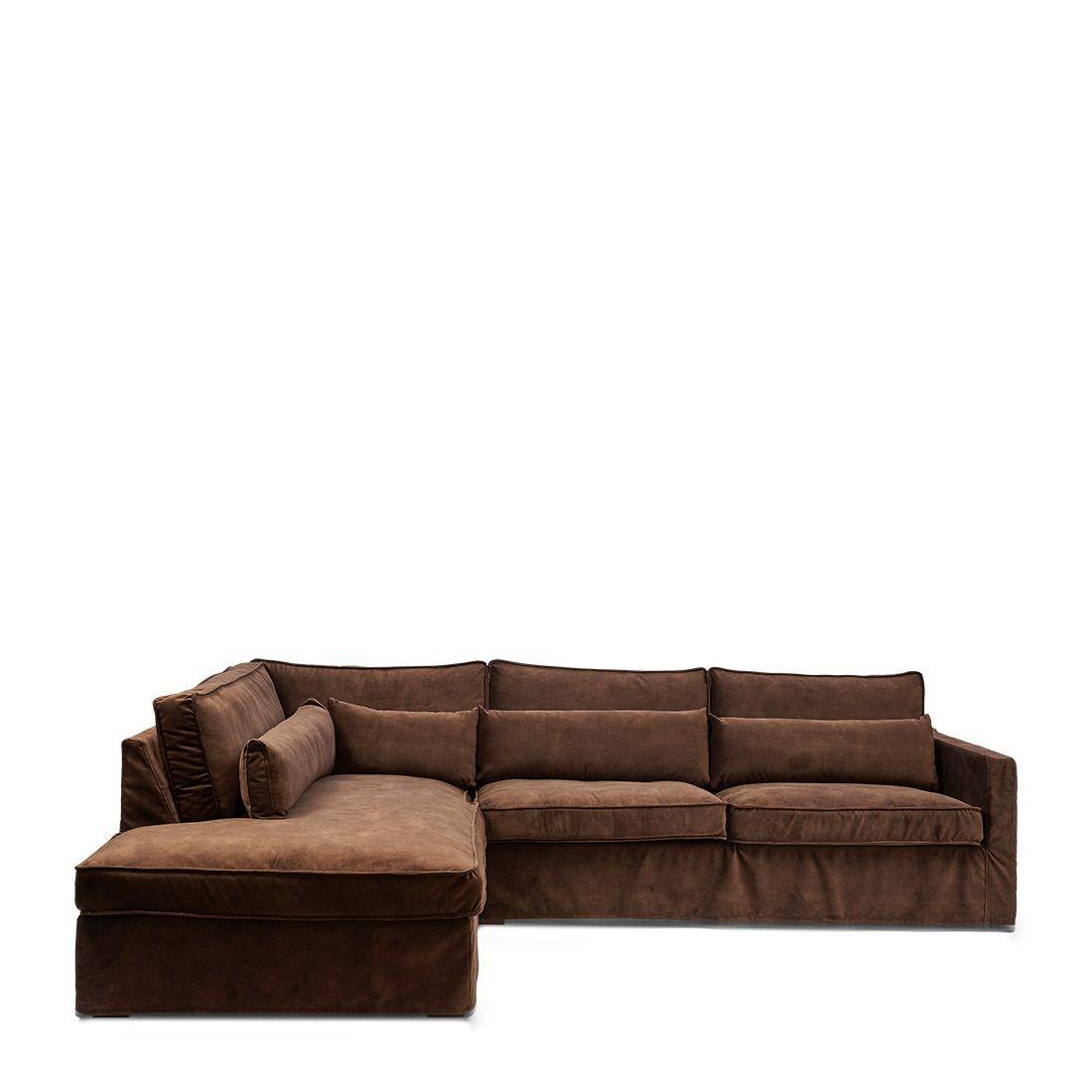 Brompton Cross Corner Sofa Chaise Longue Left velvet chocolate / Rivièra Maison