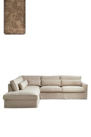 Brompton Cross Corner Sofa Chaise Longue Left, polyester-polyacryl, clay / Rivièra Maison