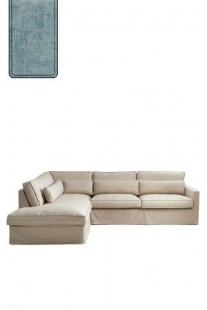 Brompton Cross Corner Sofa Chaise Longue Left, polyester-polyacryl, light blue / Rivièra Maison