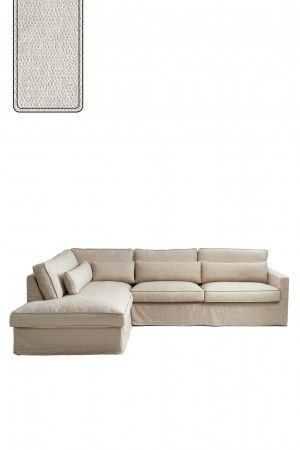 Brompton Cross Corner Sofa Chaise Longue Left, polyester-polyacryl, pearl / Rivièra Maison