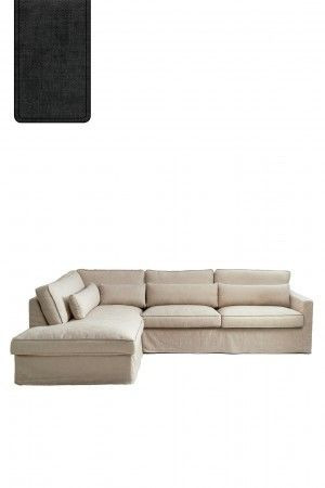 Brompton Cross Corner Sofa Chaise Longue Left, polyester-polyacryl, shadow / Rivièra Maison