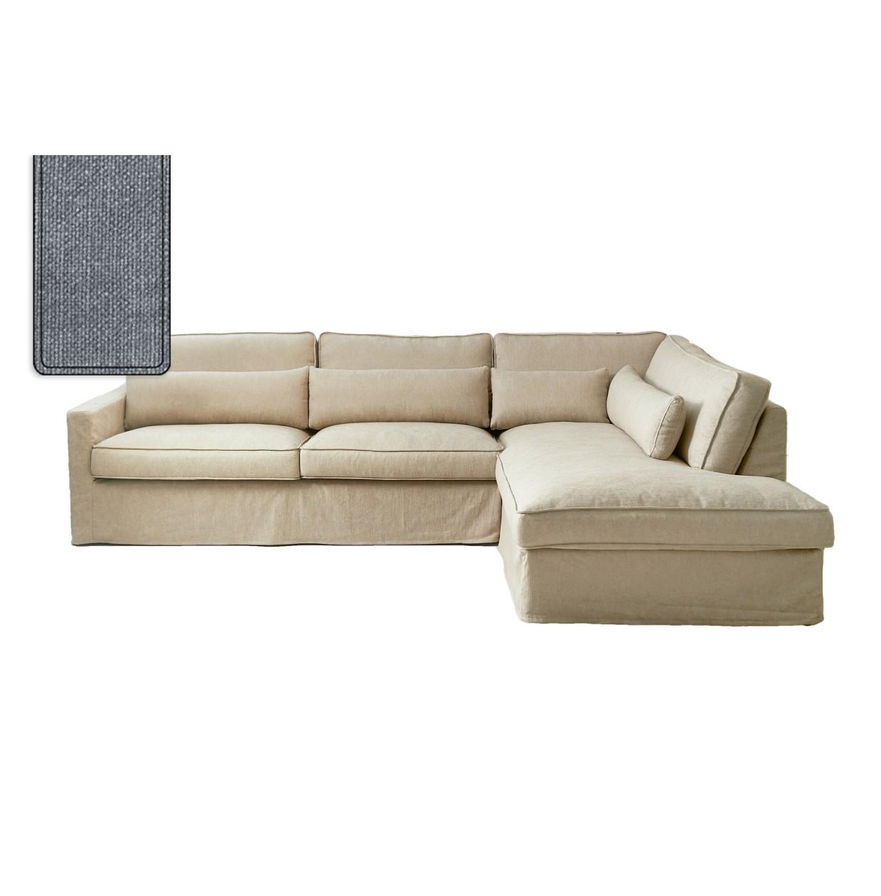 Brompton Cross Corner Sofa Chaise Longue Right Washed Cotton Blue / Rivièra Maison
