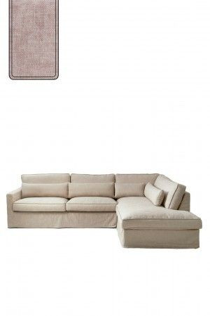 Brompton Cross Corner Sofa Chaise Longue Right, polyester-polyacryl, blossom / Rivièra Maison