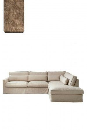 Brompton Cross Corner Sofa Chaise Longue Right, polyester-polyacryl, clay / Rivièra Maison