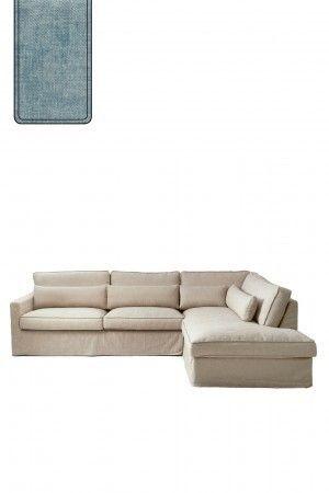Brompton Cross Corner Sofa Chaise Longue Right, polyester-polyacryl, light blue / Rivièra Maison