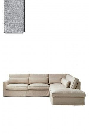 Brompton Cross Corner Sofa Chaise Longue Right, polyester-polyacryl, platinum / Rivièra Maison