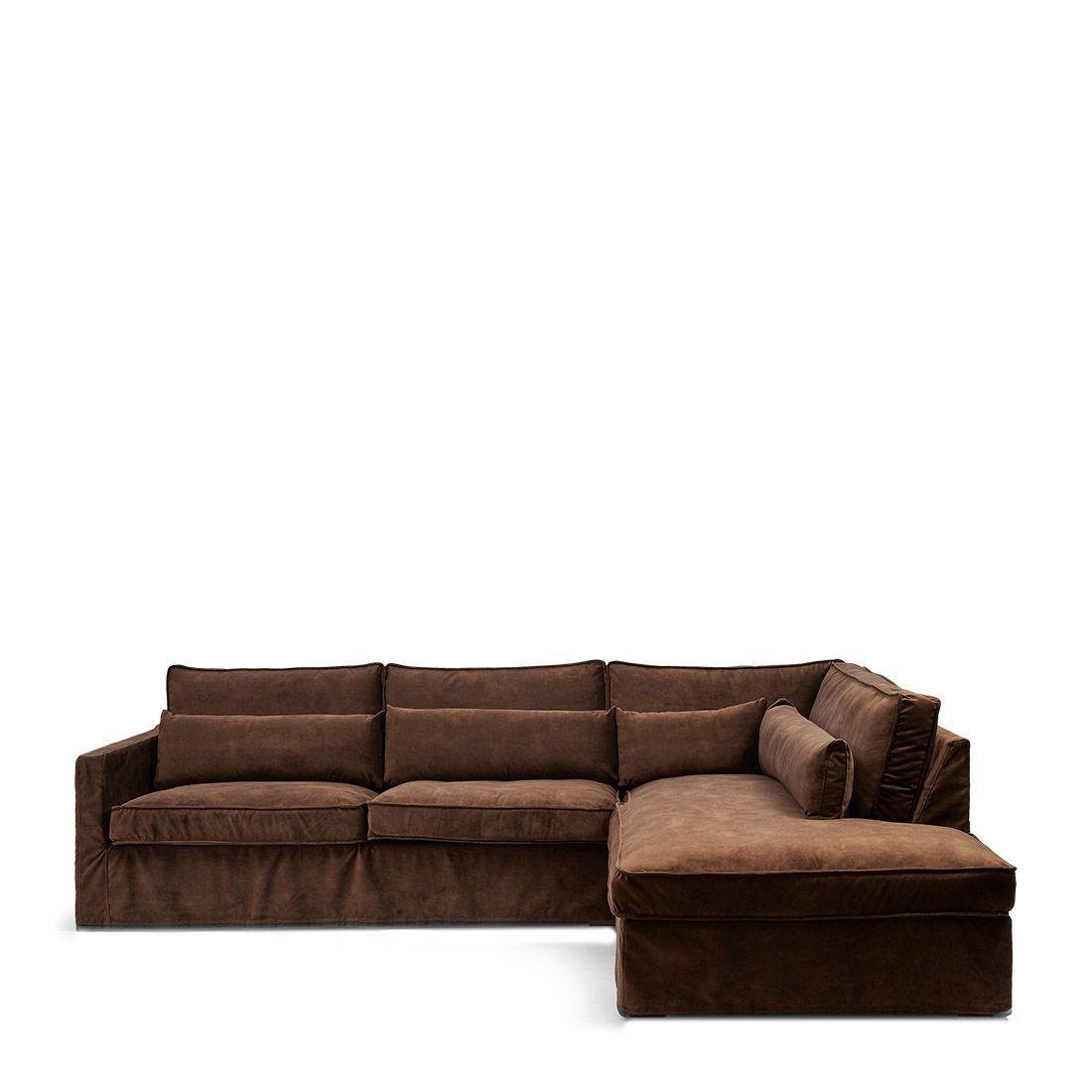 Brompton Cross Corner Sofa Chaise Longue Right, velvet, chocolate / Rivièra Maison
