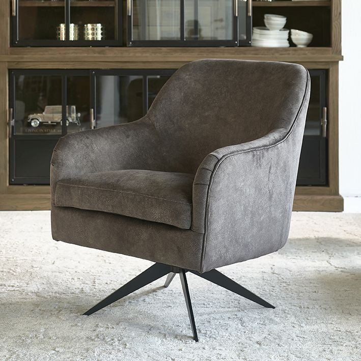 Fawcett Swivel Chair Black Leg Berkshire Truffle Riviera Maison