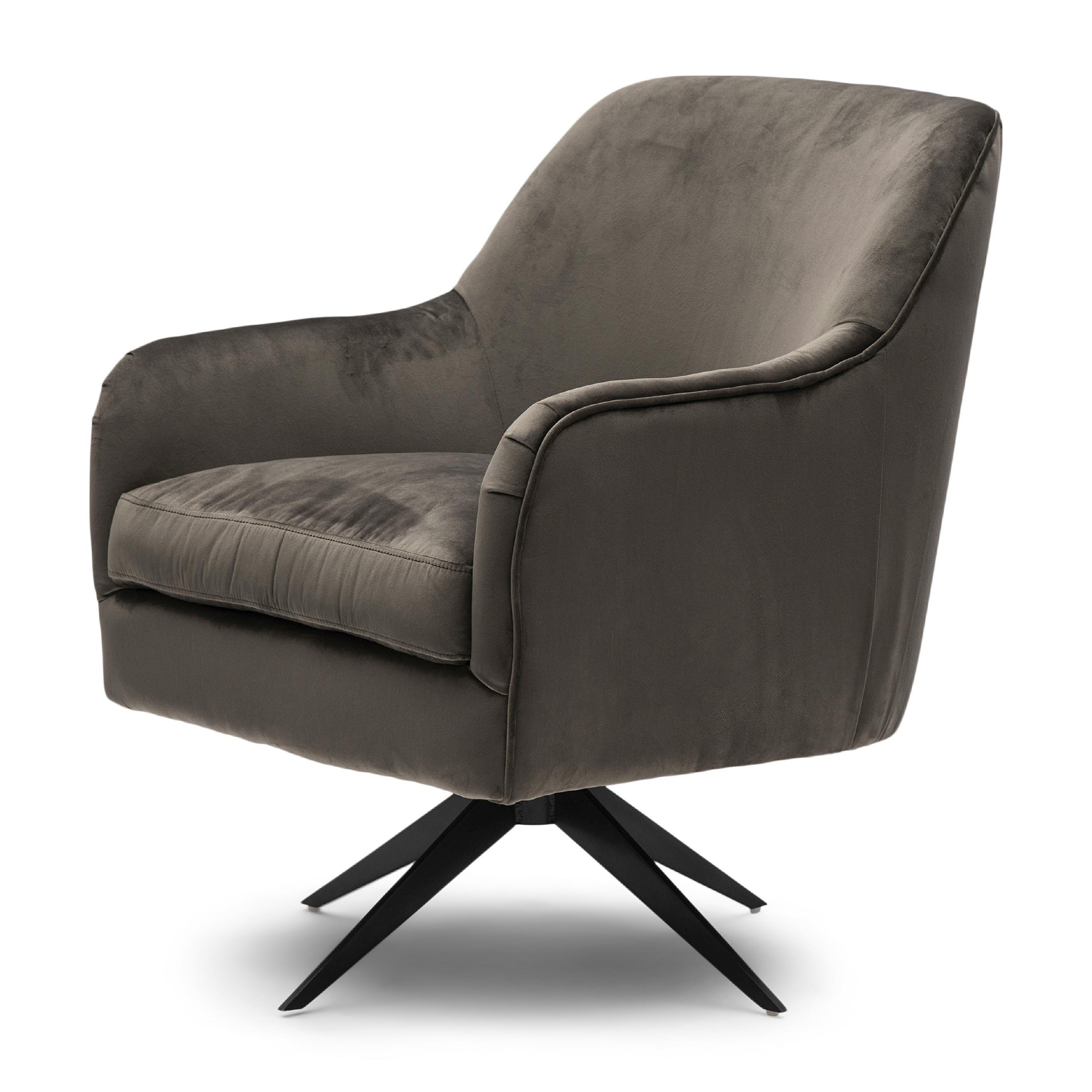 Fawcett Swivel Chair Black Leg velvet III anthracite / Rivièra Maison