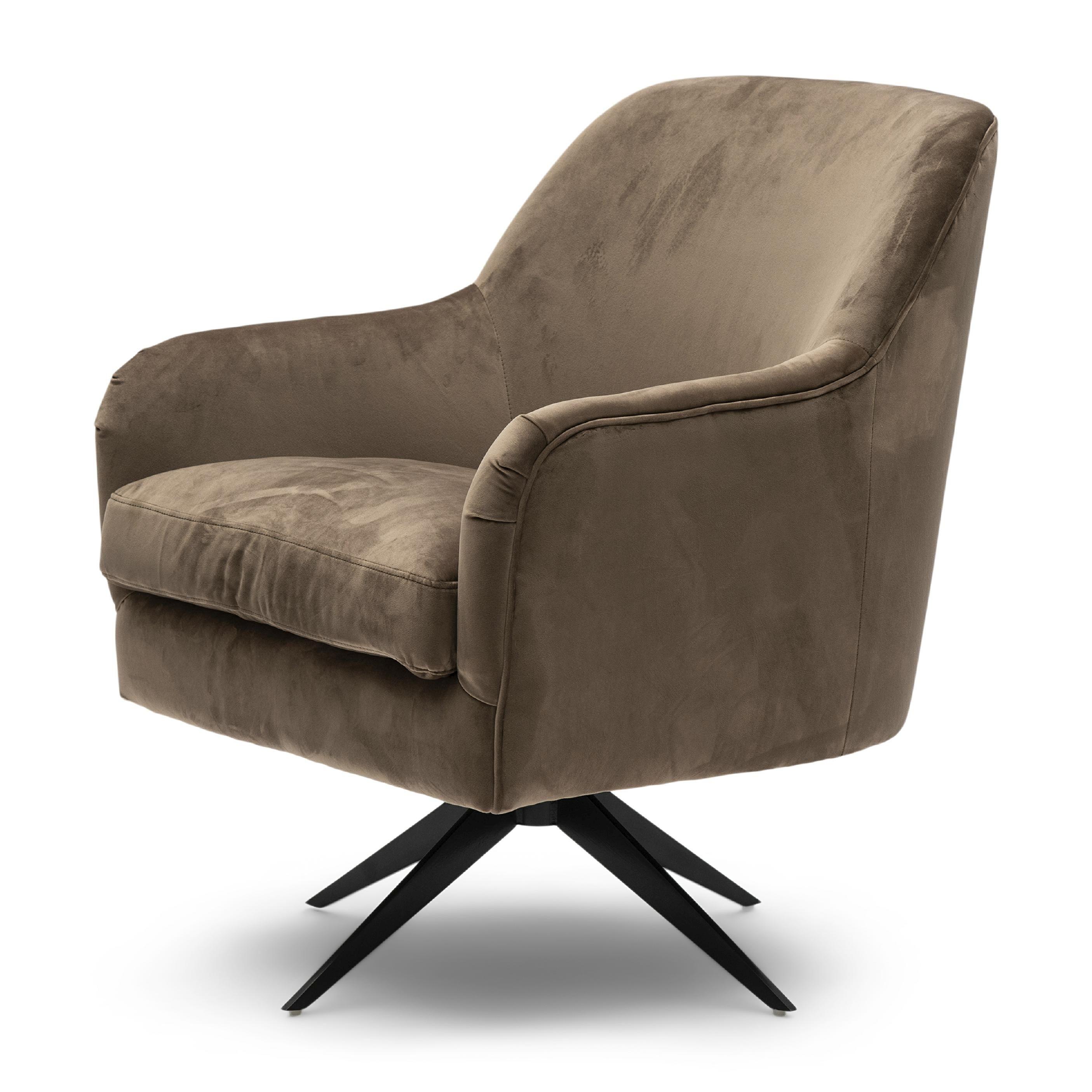 Fawcett Swivel Chair Black Leg velvet III golden mink / Rivièra Maison