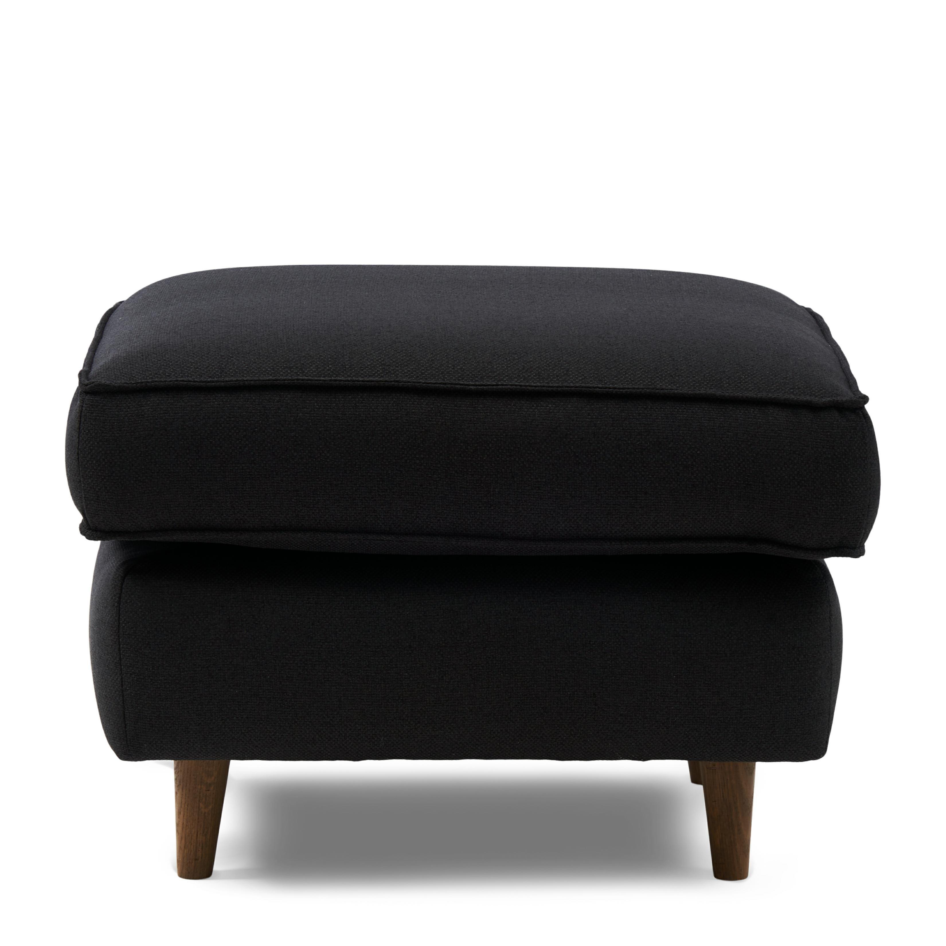 Kendall Hocker 70x70 oxford weave basic black / Rivièra Maison
