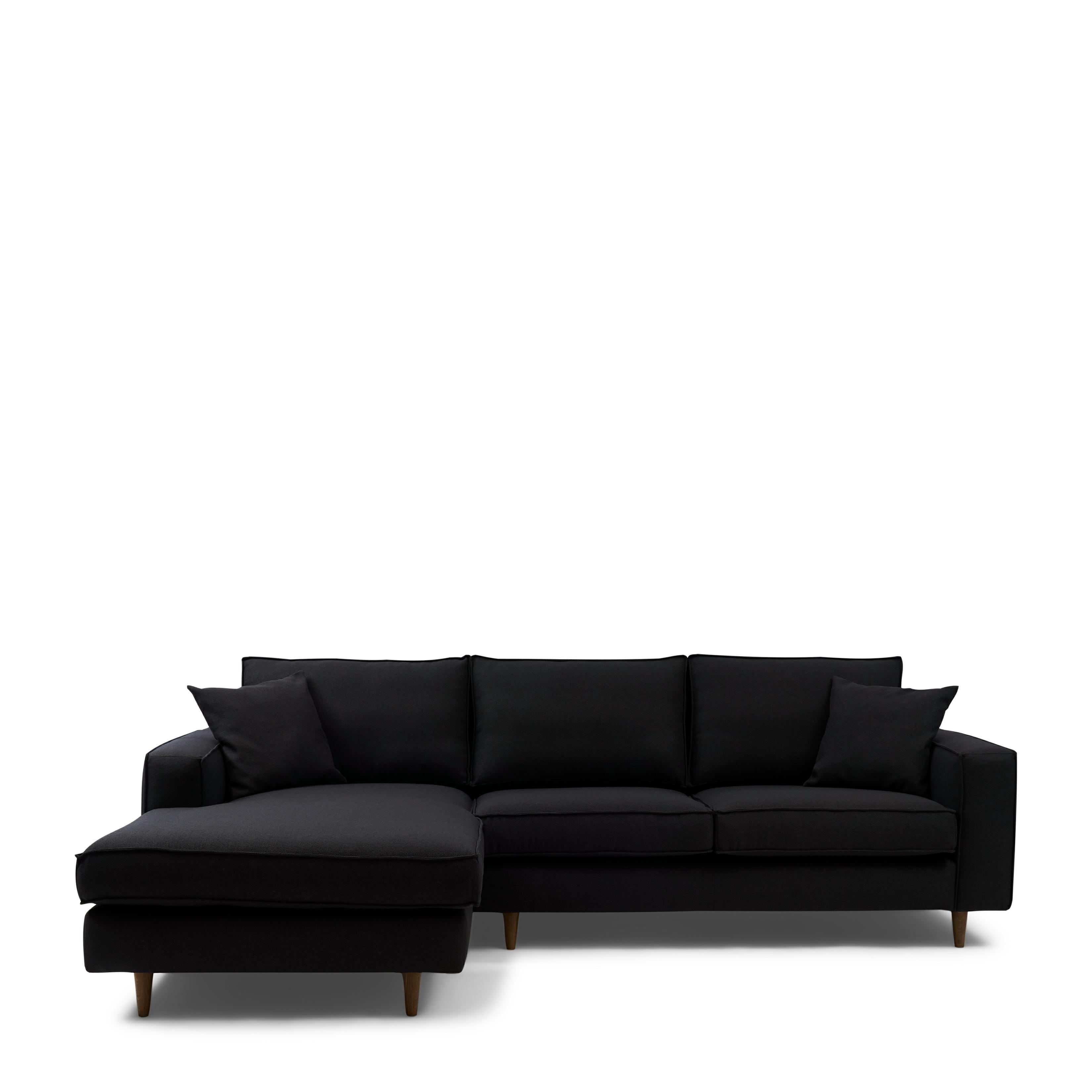 Kendall Sofa With Chaise Longue Left oxford weave basic black / Rivièra Maison