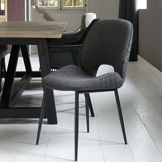 Mr. Beekman Dining Chair melane weave carbon / Rivièra Maison