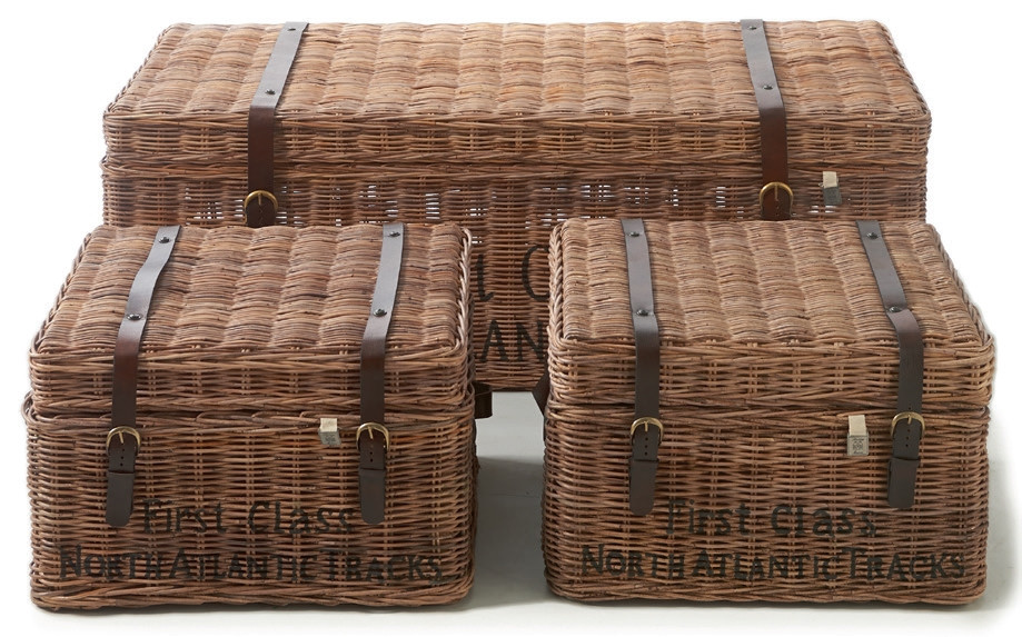 Rustic Rattan First Class Trunk Set of 3 / Rivièra Maison