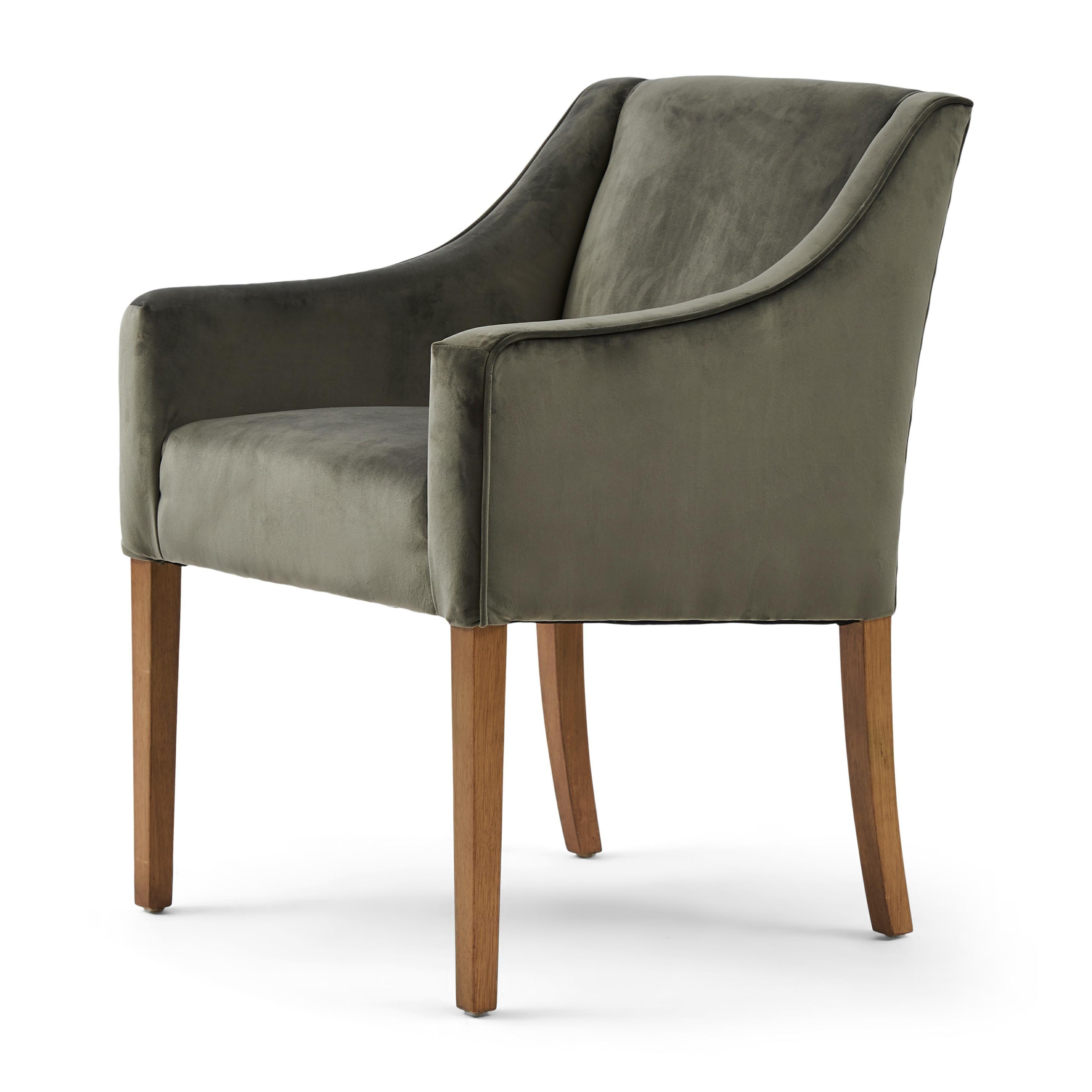 Savile Row Dining Arm Chair velvet slate grey / Rivièra Maison