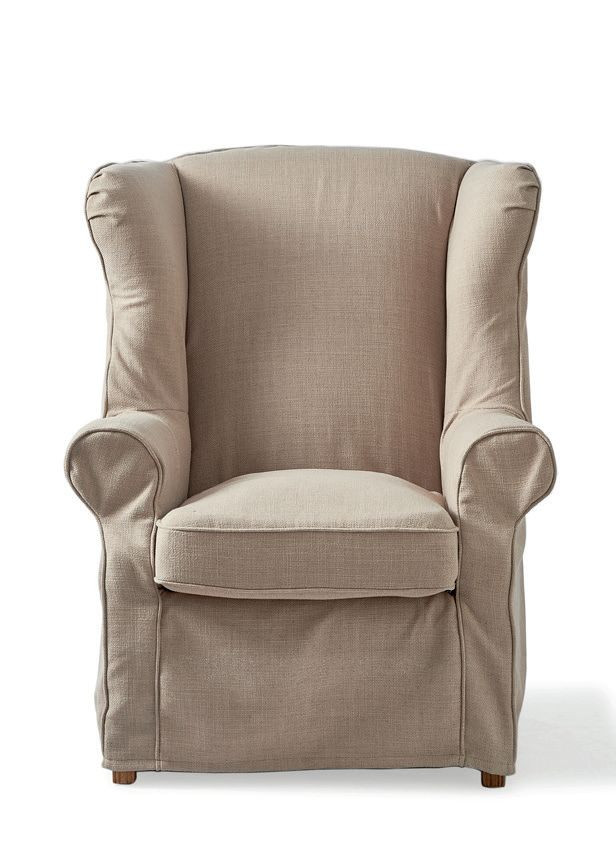 South Hampton Wing Chair with loose cover, polyester-linen, snow / Rivièra Maison