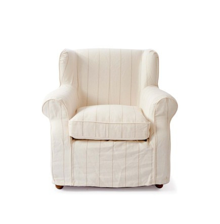 Tampa Bay Wing Chair Washed Linen white stripe / Rivièra Maison