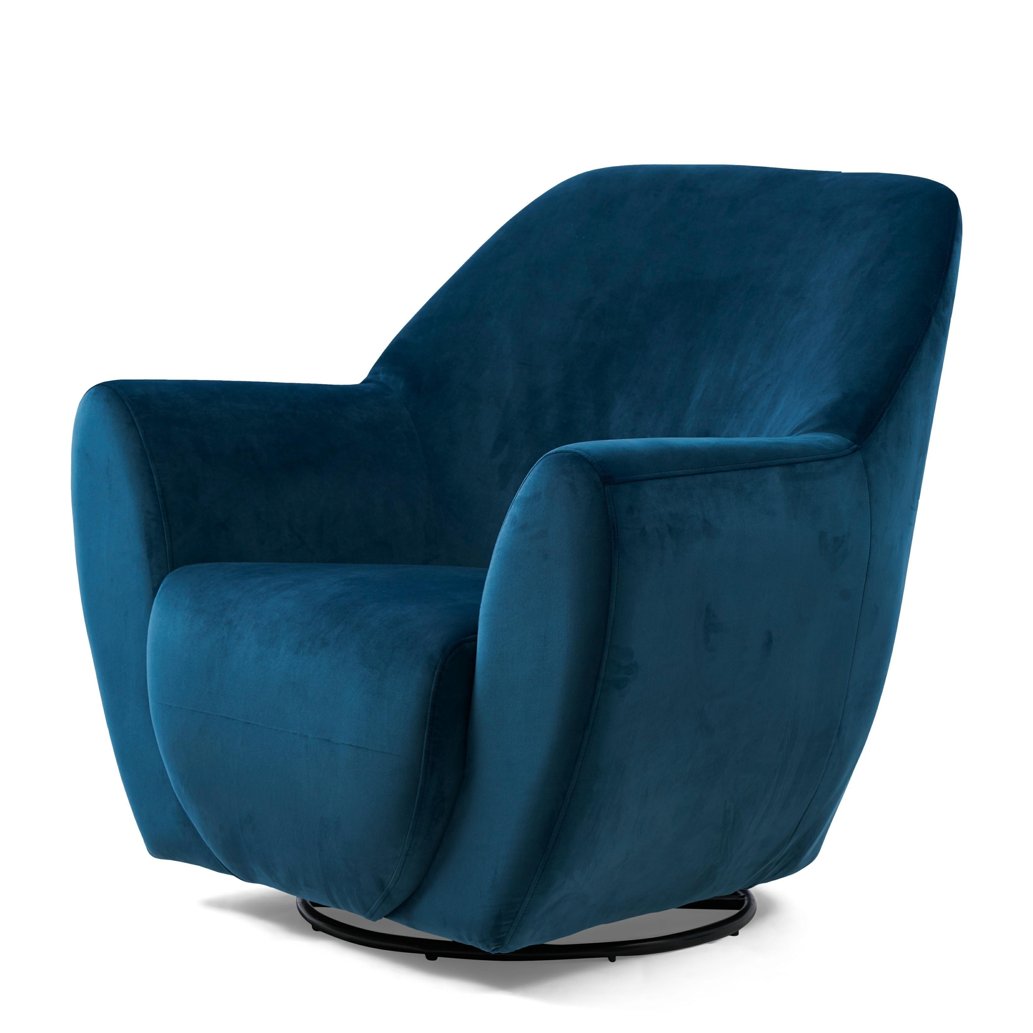 The Jill Swivel Chair velvet ocean blue / Rivièra Maison
