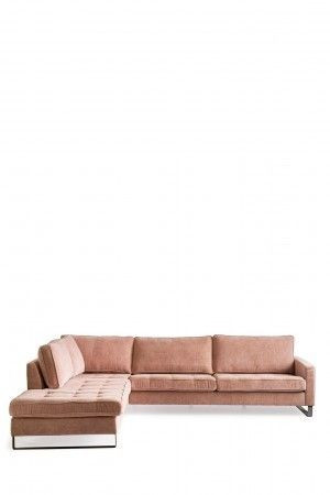 West Houston Corner Sofa Chaise Longue Left, velvet, blossom / Rivièra Maison