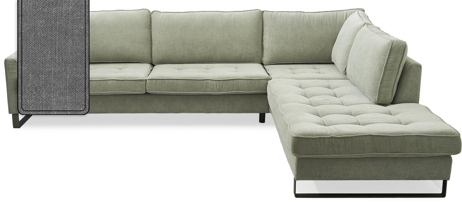 West Houston Corner Sofa Chaise Longue Right Cotton Grey Riviera