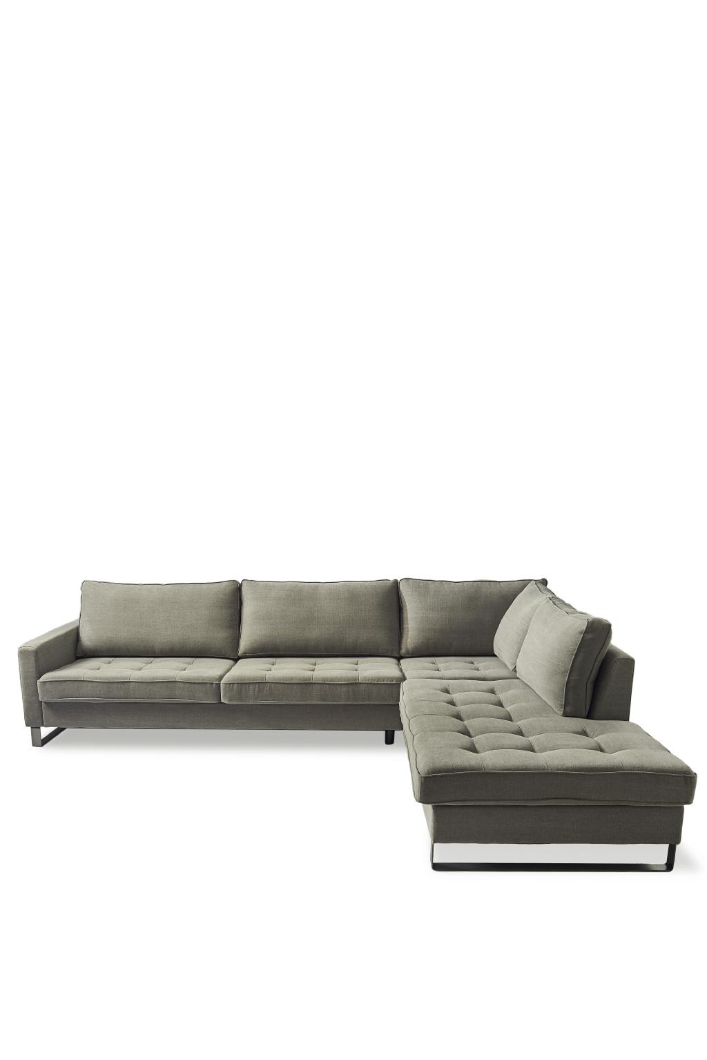 West Houston Corner Sofa Chaise Longue Right, cotton, stone / Rivièra Maison
