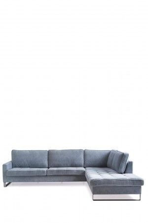 West Houston Corner Sofa Chaise Longue Right, velvet, light blue / Rivièra Maison