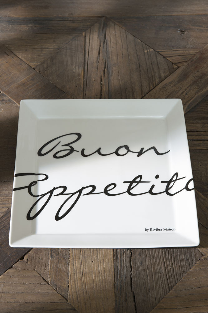 Buon Appetito Square Plate 22x22 / Rivièra Maison