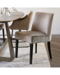 Bridge Lane Dining Chair Diamond Stitch velvet III golden mink / Rivièra Maison