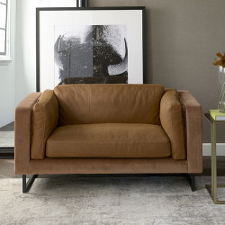Biltmore Love Seat leather cognac / Rivièra Maison