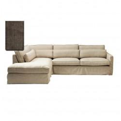 Brompton Cross Corner Sofa Chaise Longue Left Washed Cotton Brown / Rivièra Maison