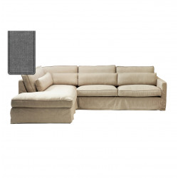 Brompton Cross Corner Sofa Chaise Longue Left Washed Cotton Grey / Rivièra Maison