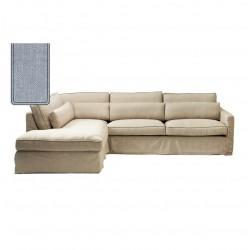 Brompton Cross Corner Sofa Chaise Longue Left Washed Cotton Iceblue / Rivièra Maison