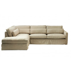 Brompton Cross Corner Sofa Chaise Longue Left, polyester-polyacryl, blossom / Rivièra Maison