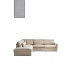 Brompton Cross Corner Sofa Chaise Longue Left, polyester-polyacryl, platinum / Rivièra Maison