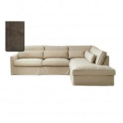 Brompton Cross Corner Sofa Chaise Longue Right Washed Cotton Brown / Rivièra Maison