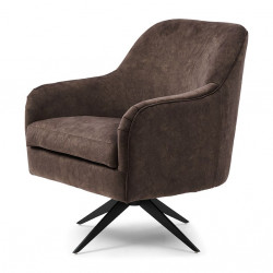 Fawcett Swivel Chair Black Leg berkshire cacao / Rivièra Maison