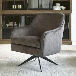Fawcett Swivel Chair Black Leg berkshire truffle / Rivièra Maison