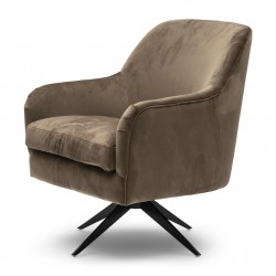 Fawcett Swivel Chair Black Leg velvet III golden mink / Rivièra Maison
