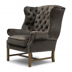 Franklin Park Wing Chair velvet III anthracite / Rivièra Maison