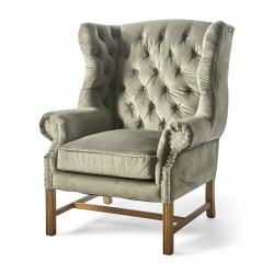Franklin Park Wing Chair velvet slate grey / Rivièra Maison
