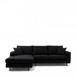 Kendall Sofa With Chaise Longue Left oxford weave basic black / Rivièra Maison