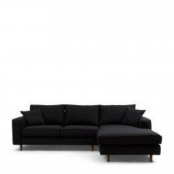 Kendall Sofa with Chaise Longue Right oxford weave basic black / Rivièra Maison