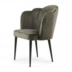 Lauderdale Dining Arm Chair Black Leg velvet slate grey / Rivièra Maison