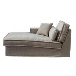 Metropolis Chaise Longue Left Washed Cotton Blue / Rivièra Maison