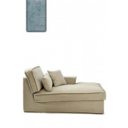 Metropolis Chaise Longue Left, polyester-polyacryl, light blue / Rivièra Maison