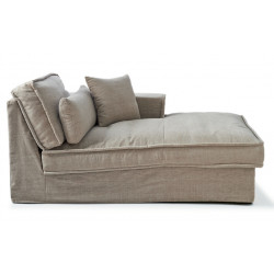 Metropolis Chaise Longue Right Washed Cotton Blue / Rivièra Maison